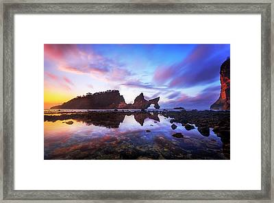 Framed Print featuring the photograph Atuh Beach Dawn Break Scene by Pradeep Raja Prints