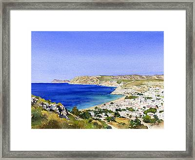 Agua Amarga And The Coast Of The Parque Natural Framed Print by Margaret Merry