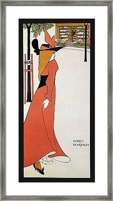 Aubrey Beardsley - Girl In Red Gown - Vintage Advertising Poster Framed Print