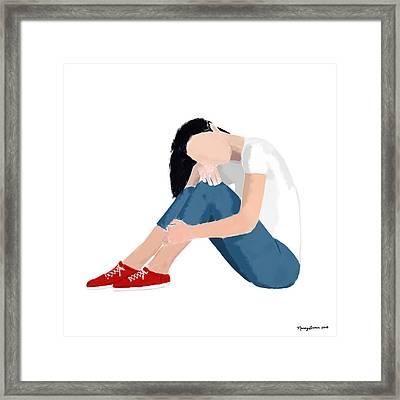 Framed Print featuring the digital art Aubrey by Nancy Levan