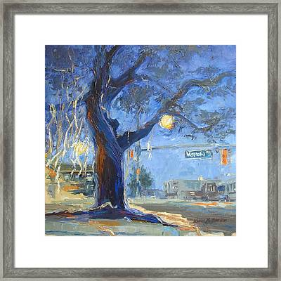 Auburn Toomer's Corner - Part Of College Series Framed Print by Karen Mayer Johnston