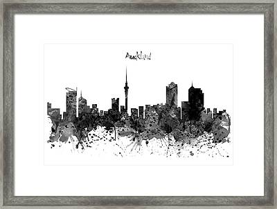 Auckland Black And White Watercolor Skyline Framed Print