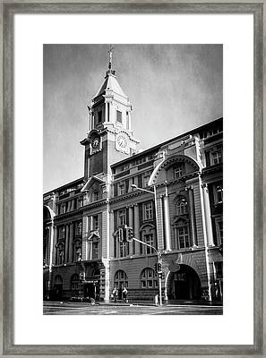 Auckland New Zealand Ferry Building Bw Framed Print