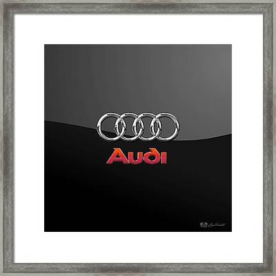 Audi 3 D Badge On Black Framed Print by Serge Averbukh