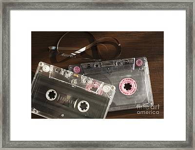 Audio Tape Cassettes With Subtracted Out Tape.  Framed Print