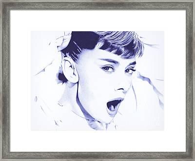 Audrey - Ballpoint Pen Art Framed Print
