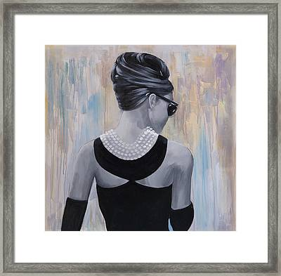 Audrey Hepburn Abstract Style Back View Framed Print by Atelier B Art Studio