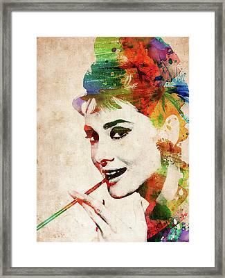 Audrey Hepburn Colorful Portrait Framed Print