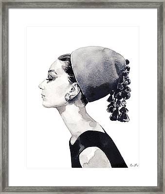 Audrey Hepburn For Vogue 1964 Couture Framed Print by Laura Row