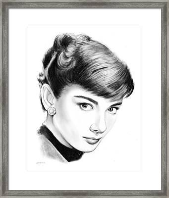 Audrey Hepburn Framed Print by Greg Joens