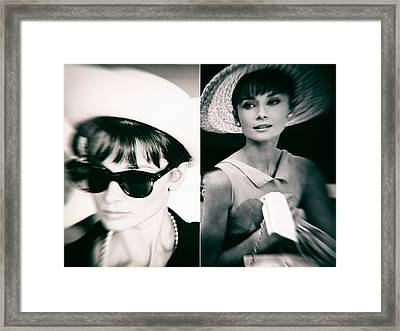 Audrey Hepburn In Black And White Framed Print by Georgia Fowler