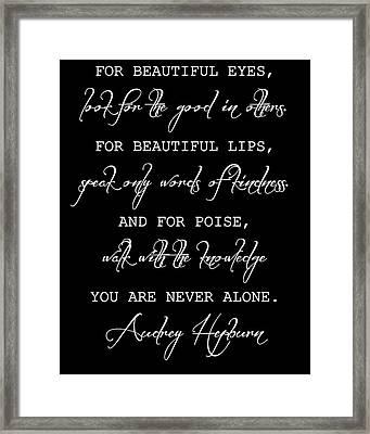Audrey Hepburn Inspirational Quote Framed Print