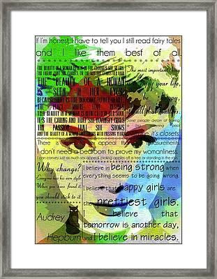 Audrey Hepburn  Motivational Inspirational Independent Quotes  Framed Print