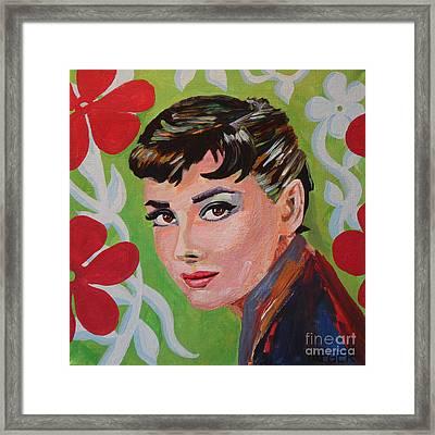 Audrey Hepburn Portrait Framed Print by Robert Yaeger
