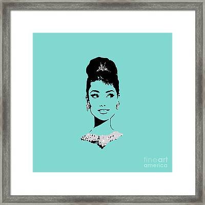 Audrey In Tiffany Blue Framed Print