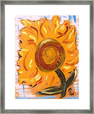 August 7 Late Day Sunflower Framed Print by Mary Carol Williams