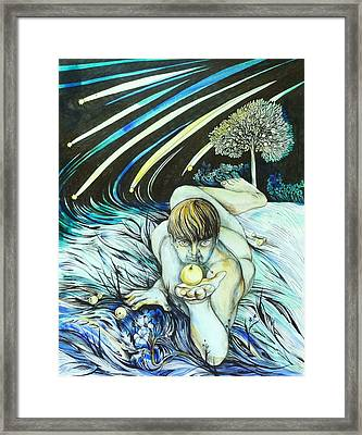 Framed Print featuring the drawing August by Anna  Duyunova