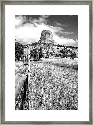 August At Wyoming Devils Tower 02 Vertical Bw Framed Print by Thomas Woolworth
