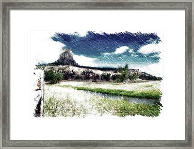 August At Wyoming Devils Tower Monument Pa Framed Print by Thomas Woolworth