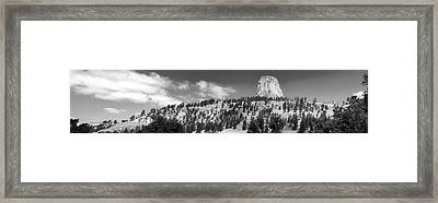 August At Wyoming Devils Tower Panorama 01 Bw Framed Print by Thomas Woolworth
