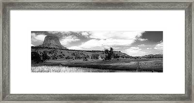 August At Wyoming Devils Tower Panorama 02 Bw Framed Print by Thomas Woolworth