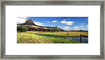 August At Wyoming Devils Tower Panorama 02 Framed Print by Thomas Woolworth