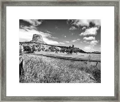 August At Wyoming Devils Tower Panorama 03 Bw Framed Print by Thomas Woolworth