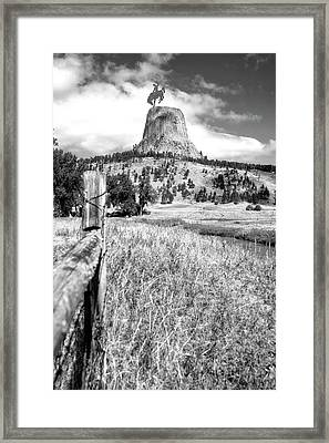 August At Wyoming Devils Tower With Cowboy 02 Vertical Bw Framed Print by Thomas Woolworth