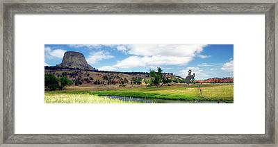 August At Wyoming Devils Tower With With Cowboy Panorama 01 Framed Print by Thomas Woolworth
