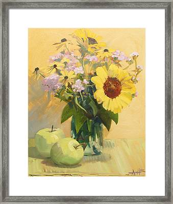 August Flowers With Apples Framed Print by Azhir Fine Art