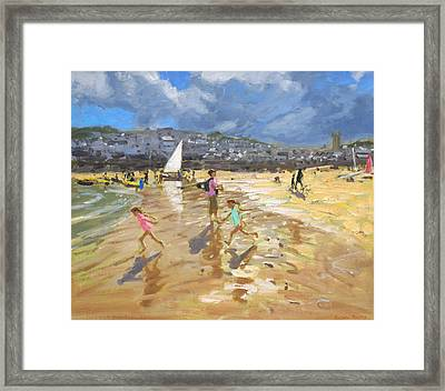 August In St Ives Framed Print by Andrew Macara