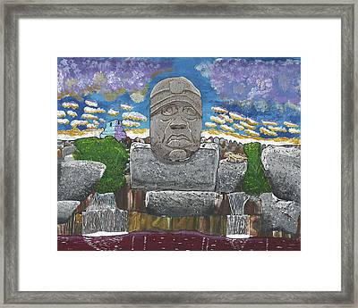 August  Olmec Head Framed Print