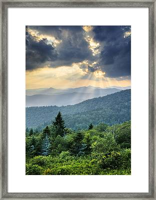 August Rays - Blue Ridge Parkway Sun Beams Framed Print by Dave Allen