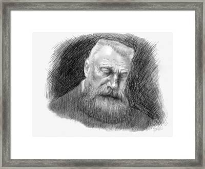 Framed Print featuring the drawing Auguste Rodin by Antonio Romero