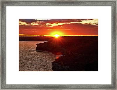 August Sunset From North Head Framed Print