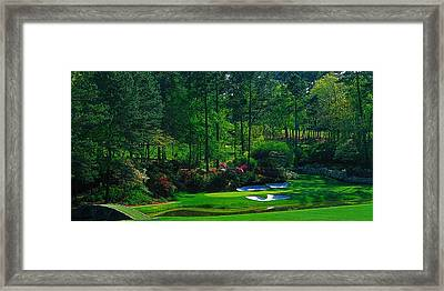 Augusta National Gc - 12th Hole - Golden Bell  Framed Print by Michael Graham