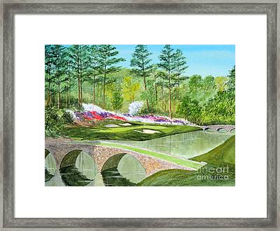 Framed Print featuring the painting Augusta National Golf Course 12th Hole by Bill Holkham