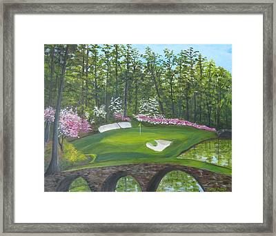 Augusta National Hole No. 12 In Springtime Framed Print by Sally Jones