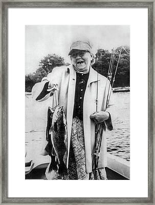 Aunt Grace Fishing Framed Print