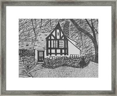 Framed Print featuring the drawing Aunt Vizy's House by Lenore Senior