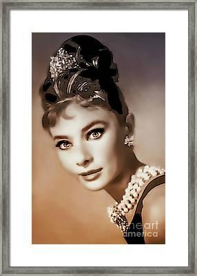 Aurdrey Hepburn - Famous Actress Framed Print by Ian Gledhill