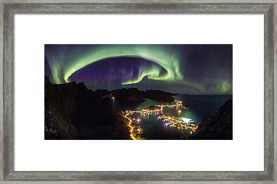 Aurora Above Reine Framed Print by Alex Conu