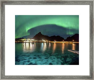 Aurora Above Turquoise Waters Framed Print