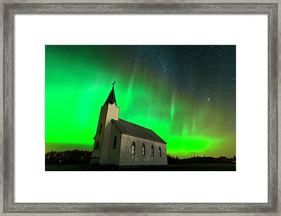 Aurora And Country Church Framed Print