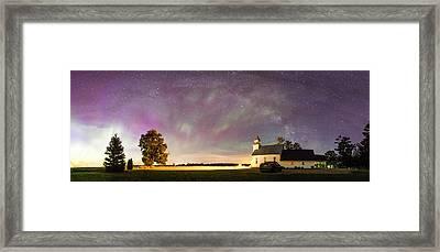 Aurora And Milky Way  Framed Print by Lorraine Matti
