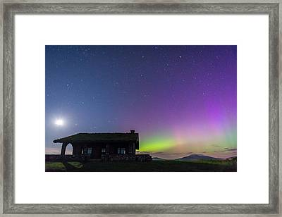 Aurora And Moon From Beech Hill Framed Print by Tim Sullivan