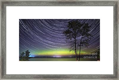 Aurora And Star Trails Over Lake Simcoe Framed Print by Charline Xia