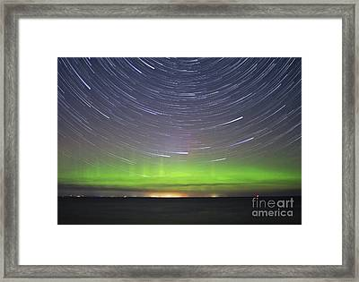 Aurora And Startrails Framed Print by Charline Xia