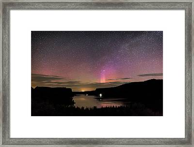 Framed Print featuring the photograph Aurora At Lake Billy Chinook by Cat Connor