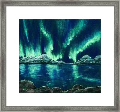 Framed Print featuring the painting Aurora Borealis by Anastasiya Malakhova